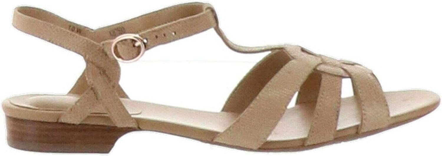 Brandy Natural Taupe Lizard Womens 8W New Vaneli Leather Multi-Strap Sandals