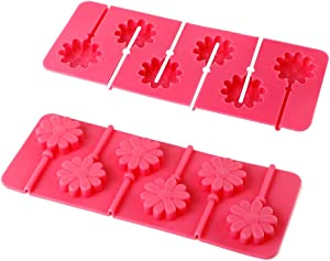 Webake Silicone Lollipop Mold With Sticks 2 Pack Hard Candy Lollipop Sucker Mold Chocolate Molds Flower Shaped (European Food Grade Silicone, Easy Release)
