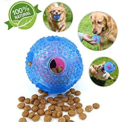 Dog Treat Ball iq Treat Ball for Dogs Interactive Food Dispensing Dog Toy for Small to Medium Dogs, Non-Toxic Rubber and Bouncy Ball, Clean Teeth for Dogs and Cats