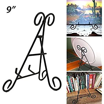 Adorox (9'') Tall Black Iron Display Stand Holds Cook Books, Plates, Pictures & More!
