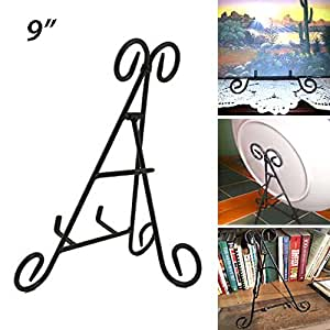 "Adorox Tall Black Iron Display Stand Holds Cook Books, Plates, Pictures & More! (9"")"