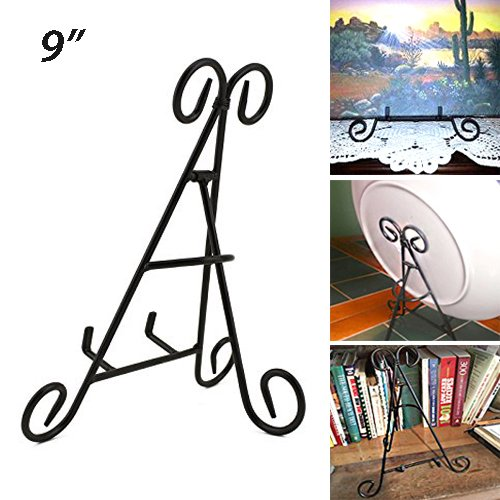 Adorox Tall Black Iron Display Stand Holds Cook Books, Plates, Pictures & More! (9')