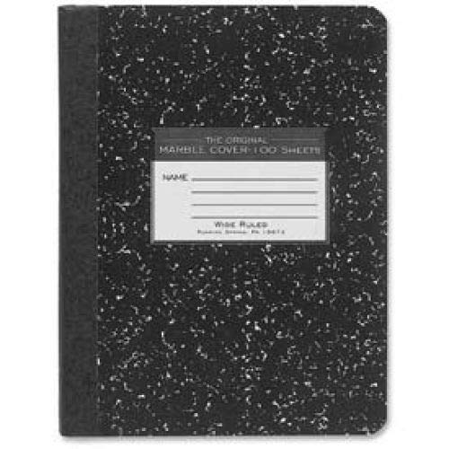 Roaring Spring Hard Cover Comp Book, 7-1/2'' x 9-3/4'', Wide Ruled, Black Marble, 100 Sheets/Pad (6 Books)
