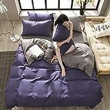 ZT-HOME Solid Color Duvet Cover,100% Cotton Double Bedding Sets,Flannelette Duvet Cover Set Printed Pattern Girl cot Bedding Sets-C-King