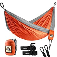 Wolfyok Portable Camping Single & Double Hammock Lightweight Portable Nylon Hammock with Parachute Nylon Ropes and Solid Carabiners for Backpacking, Camping, Travel, Beach, Yard (Double/Orange)