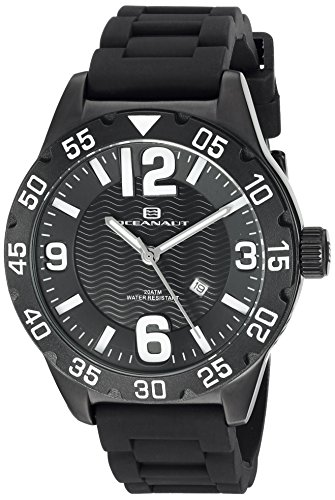 Oceanaut Men's 'Aqua One' Quartz Stainless Steel and Silicone Automatic Watch, Color:Black (Model: OC2710)