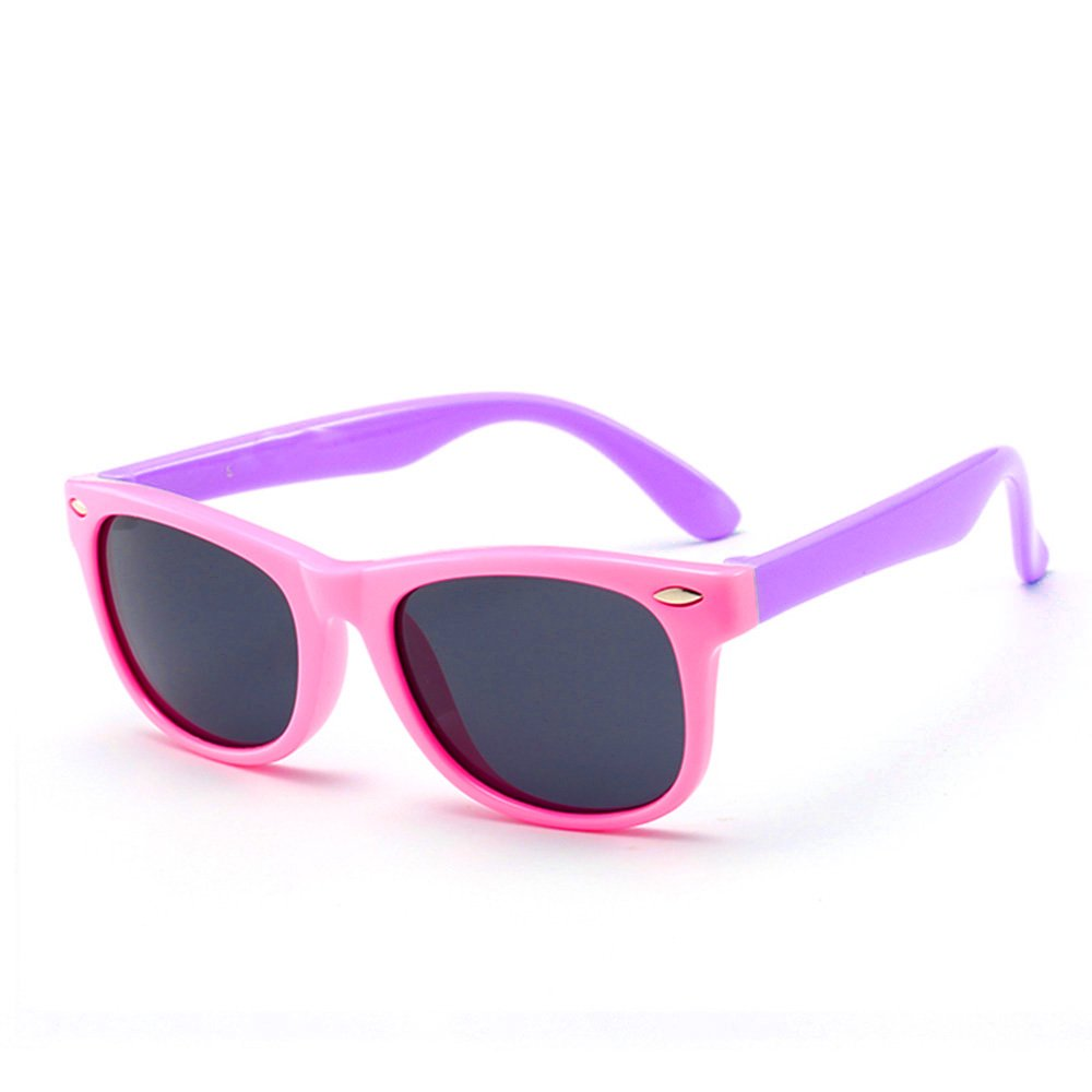 IWOCH Rubber Flexible Kids Polarized Sunglasses for Baby Girls age 3-10 Pink Purple