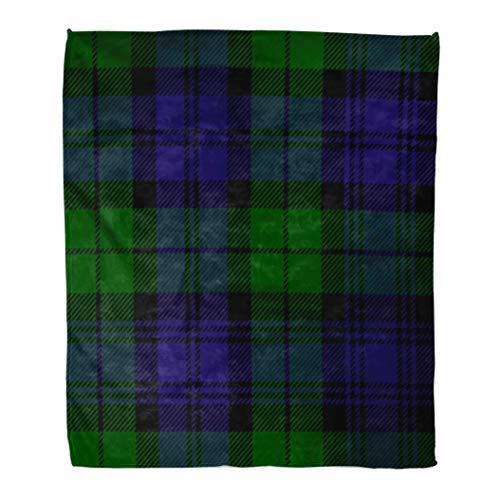Campbell Flannel - Emvency Flannel Throw Blanket Pattern Scottish Plaid Pattern Printing in Green Black Blue Campbell Tartan Dark Abstract 60x80 Inch Lightweight Cozy Plush Fluffy Warm Fuzzy Soft