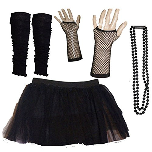 1980 Fancy Dress Costumes Uk (Kids Neon Colours UV Tutu Gloves Leg Warmers and Beads 1980s Fancy Dress (Black))