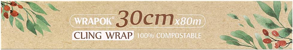 WRAPOK 100% Compostable Cling Wrap Biodegradable Corn PLA Food Film Roll with Slide Cutter - 258 Square Feet