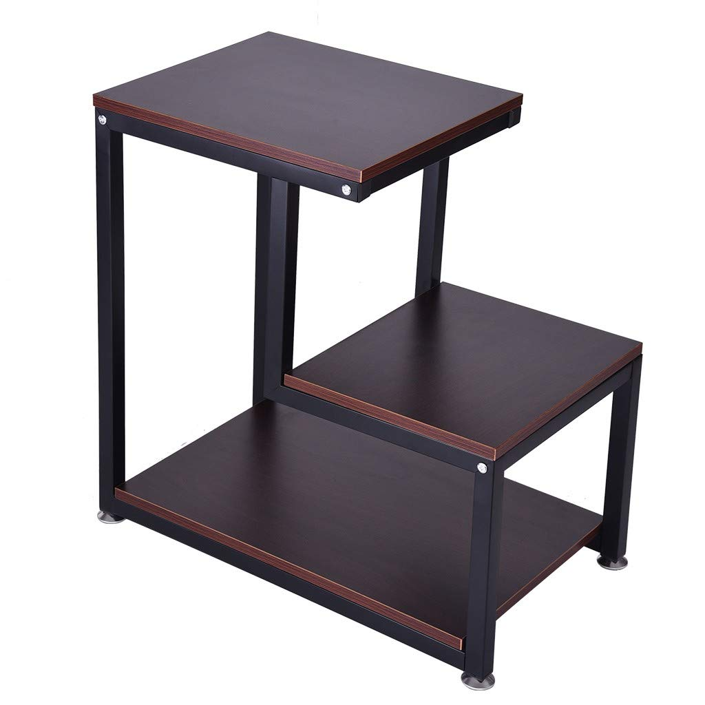 FORESTIME Modern End Table,3-Tier Chair Side Table Nightstand Bedside Table with Storage Shelves for Living Room, Bedroom (Brown) by FORESTIME