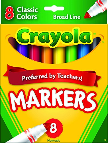 Washable Broad Markers Point - Crayola Non-Washable Markers, Broad Point, Classic Colors, 8/Set (58-7708)(Discontinued by manufacturer)