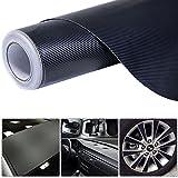 4D 5' x 100' Carbon Fiber Vinyl Wrap Rolls Motorcycle Vehicle Sticker Black