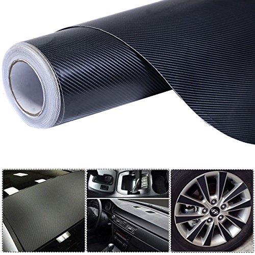 4D 5' x 100' Carbon Fiber Vinyl Wrap Rolls Motorcycle Vehicle Sticker Black by CS_SHOP
