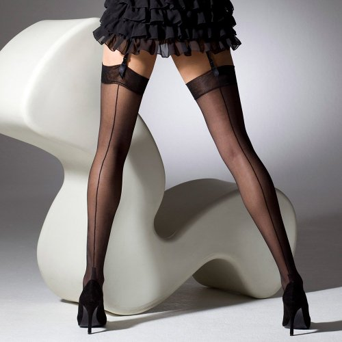 Black seamed stockings that interrupt