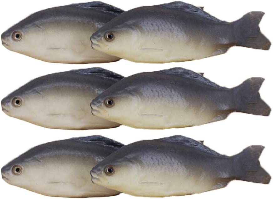 HT 6PCS Simulated Fish Artificial Fish Model Lifelike Fake Fish for Home Party Market Display Kids Toy Kitchen Decoration Photography Props (020-2)
