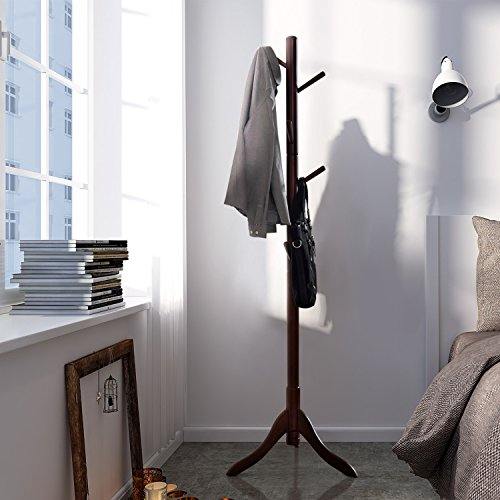 LCH Sturdy Coat Rack Solid Rubber Wood Hall Tree with Tripod Base, 8 Hooks,Also Suitable for Kids(Coffee) by LCH (Image #6)