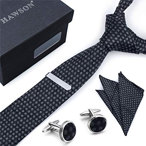 - Men's Bamboo Fiber Tie, Pocket Square Set with Cuff Links and Tie Clip in Gift Box – Best Gift for Wedding and Business Party