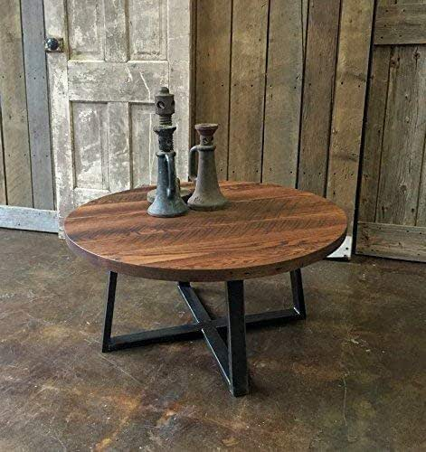 Reclaimed Wood Industrial Round Coffee Table: Amazon.com: Round Industrial Reclaimed Wood Coffee Table
