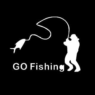 Zhhlaixing autocollant 'Go Fishing' Funny Car Window Vinyl Sticker Decals Body Reflective zhuhaishi xiangzhou laixing dianzishanghang LX-xin-874-1