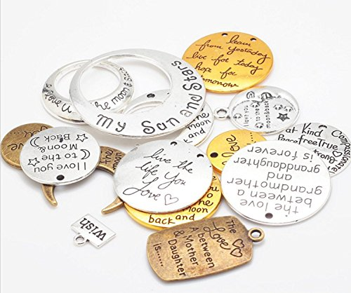 - 15 Pc Inspirational Message Sayings Charms, Antique Look for DIY Jewelry or Crafts (As Pictured)