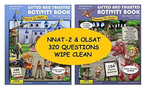 Gifted and Talented Test Preparation: 2 Gifted test prep activity books NNAT-2 and OLSAT; WIPE-CLEAN Workbook for children in preschool and kindergarten;