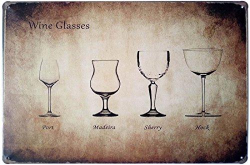 - ERLOOD Wine Glasses Retro Vintage Bar Metal Tin Sign poster style wall art pub bar decor 12 X8
