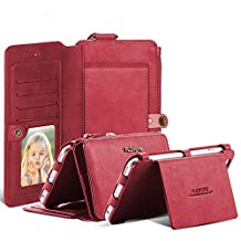 Samsung S6/S6 Edge Case, FLOVEME Retro Zipper Magnetic Leather Wallet Case with 18 Card Slots, Cash Compartment and 360 Degree Full Protection Flip Pouch Kickstand Cover for Samsung Galaxy S6/S6 Edge (Red)