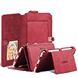 For iPhone 6 6s Case, FLOVEME Vintage 2 in 1 Zipper Magnetic Wallet Leather 18 Card Slots Handbag Full Protection Flip Pouch Kickstand Cover Holder for Apple iPhone 6 6s 4.7 inch - Red