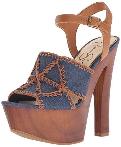 Jessica Simpson Women's Dezzie Heeled Sandal, Dark Denim, 6.5 Medium US (Womens Blue Sandal Jessica Simpson)