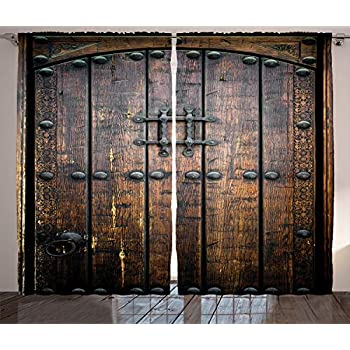 Ambesonne Rustic Decor Collection, Ancient Wooden Door Historical Vintage Exterior Medieval Structure Artistic Picture, Living Room Bedroom Curtain 2 Panels Set, 108 X 90 Inches, Silver and Brown