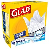 Glad White Garbage Bags - Regular 21 Litres - Easy-Tie Handles, with Febreze Freshness, 100 Trash Bags