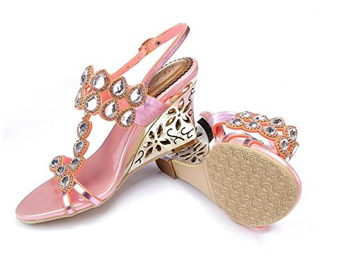 SYYAN Women's Leather Rhinestones Fish mouth Hollow Handmade Pump Dress Sandals Pink Pink pQeNTtL