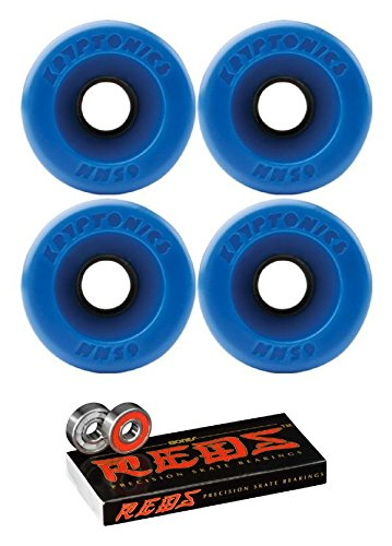Kryptonics Wheels 65mm Star Trac Blue Longboard Skateboard Wheels - 82a with Bones Bearings - 8mm Bones Reds Precision Skateboard Bearings - Bundle of 2 Items