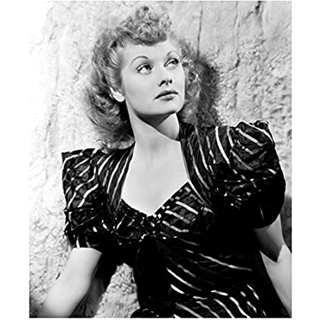 Lucille Ball Posing in Black and White Stripped Dress Next to Wall 8 ...