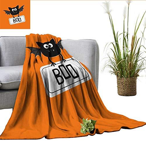 (ScottDecor Halloween Digital Printing Blanket Cute Funny Bat with Plate Boo Fangs Scare Frighten Seasonal Cartoon Print Mini Couch Orange Black White W60)