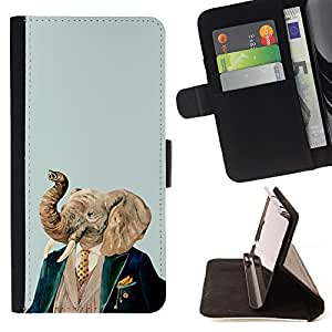 DEVIL CASE - FOR Samsung Galaxy S6 - Elephant Art Portrait Painting Noble Man - Style PU Leather Case Wallet Flip Stand Flap Closure Cover