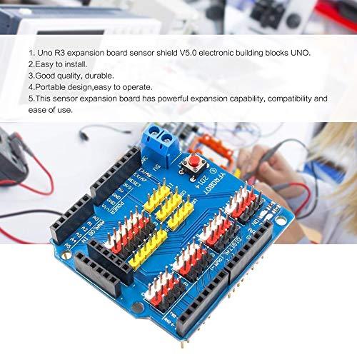 Azul Hnourishy Placa de expansi/ón Sensor Shield para Tarjeta de expansi/ón Arduino UNO R3 V5.0 M/ódulo electr/ónico Placa de expansi/ón Sensor Shield V5