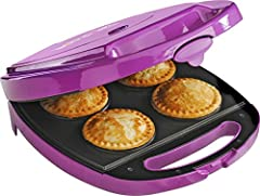 Enjoy fresh-baked pie without heating up the oven! This BabyCakes mini pie maker bakes 4 individual pies in 10-15 minutes.