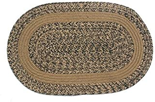 product image for Oval Braided Rug (2'x4'): Charles Blend- Brown Band