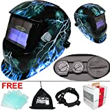 Leopard {Lightening} Solar & Replaceable Battery Powered DIN9~13 Shade Large View Auto Darking + Grinding Function Welding Helmet Mask Safety Gear
