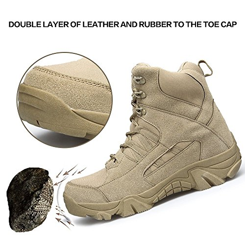 Khaki Combat Coyote amp;BENNA Tactical Zipper Lightweight Boots Boots Men's Side ENLEN Leather Military Desert Brown Boots Tan a1wgw