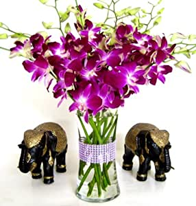 Purple Dendrobium Orchids with Vase w/ Rhinestone Mesh Ribbon