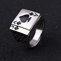 Sumanee Enamel Casino Card Game Silver Plated Men Ace Of Spades Poker Ring Jewelry (8)