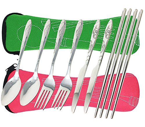8 Pieces Flatware Sets Knife, Fork, Spoon, Chopsticks, fibound 2 Pack Rustproof Stainless Steel Tableware Dinnerware with Carrying Case (Green&Pink)