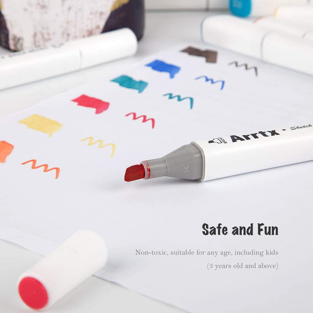 Art Sketch Twin Tip Marker Pen Set Pencil Bag Product Design Model 40-White Body Arrtx Alcohol Markers 40 Colors Dual Tip Sketch Pen