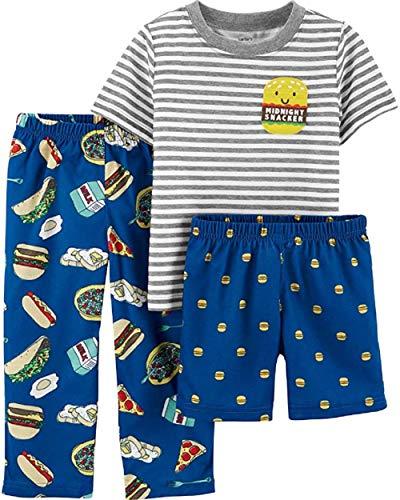 (Carter's Boys' 3-Piece Polyester Jersey Pajama Sets (Blue/Midnight Snacker, 3T))