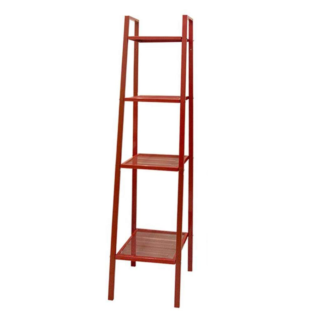Red 13.7713.7758.26in JCAFA Shelves Trapezoid Bookcase Industrial Stand Carbon Steel Wall Frame DIY Assembly Living Room, Kitchen, Bathroom, 3 colors (color   Red, Size   13.77  13.77  58.26in)