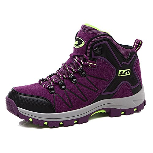 Womens Snow Boots Winter Outdoor Hiking Shoes with Warm Fully Fur Lined High Top Lace-Up Trekking Sneakers Purple ()
