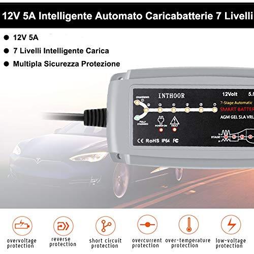 Moto 5 Amp con Morsetti e Clip ad Anello Staccabili Tosaerba Scooter ECC 12 V InThoor Intelligente Caricabatteria e Mantenitore di Carica Automatico per Auto